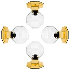 Four Motoko Ishii Brass Glass Table, Wall or Ceiling Lamps, Staff Leuchten, 1970