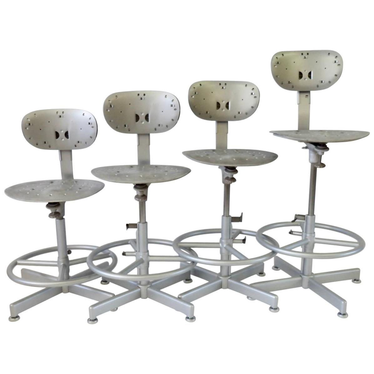 Four Multi Adjustable Industrial Operators Swivel Bar or Counter Stools