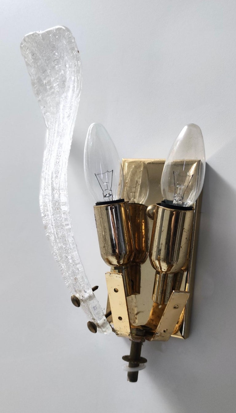 Four Murano Glass and Brass Wall Lights by Novaresi, Italy For Sale 4