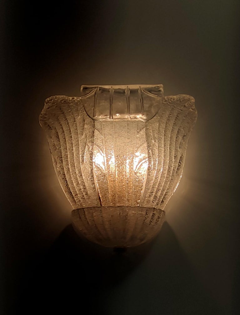 Four Murano Glass and Brass Wall Lights by Novaresi, Italy For Sale 1