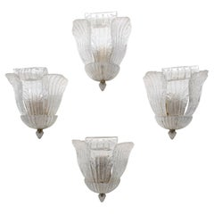 Four Murano Glass and Brass Wall Lights by Novaresi, Italy