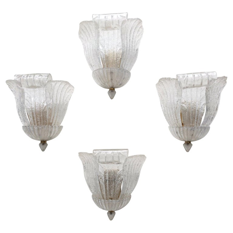 Four Murano Glass and Brass Wall Lights by Novaresi, Italy For Sale