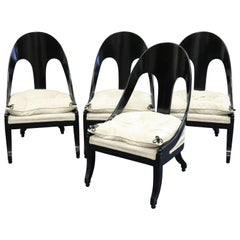 Four Neoclassical Mid-Century Modern Spoonback Chairs