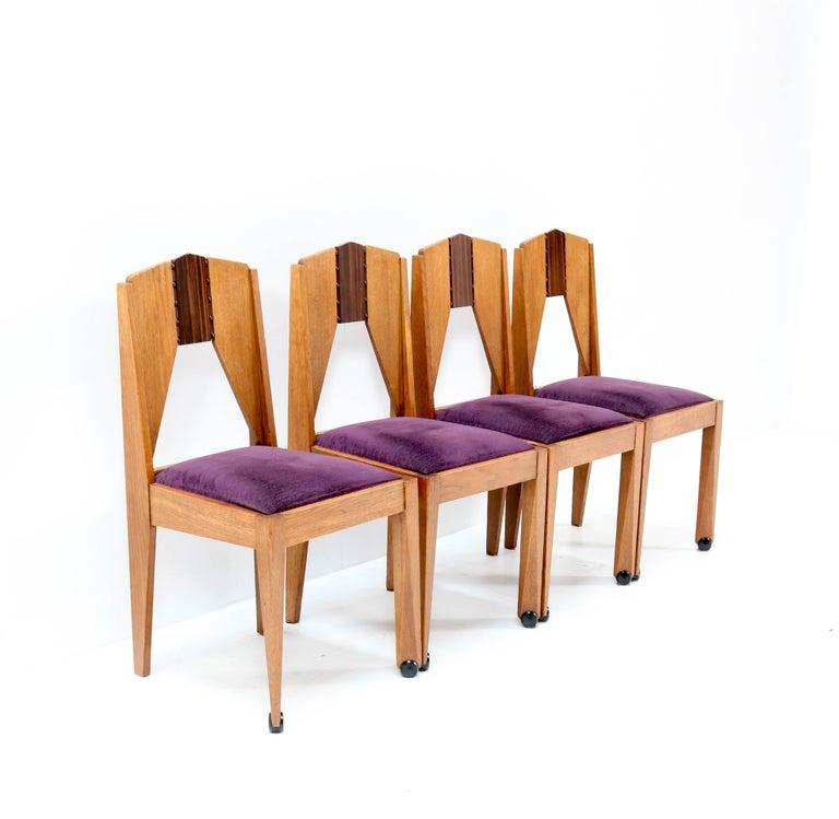 Dutch Four Oak Art Deco Amsterdam School Chairs by J.J. Zijfers Amsterdam, 1920s For Sale