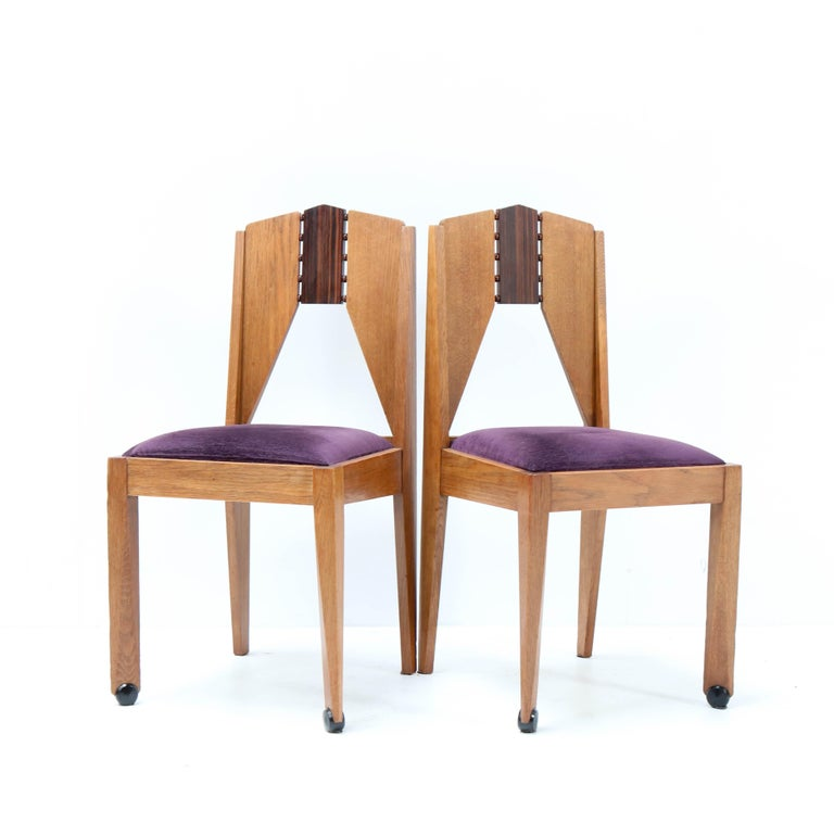 Four Oak Art Deco Amsterdam School Chairs by J.J. Zijfers Amsterdam, 1920s In Good Condition For Sale In Amsterdam, NL