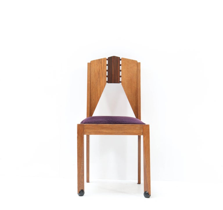 Early 20th Century Four Oak Art Deco Amsterdam School Chairs by J.J. Zijfers Amsterdam, 1920s For Sale