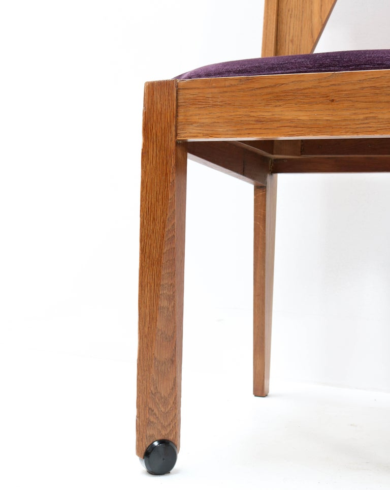 Fabric Four Oak Art Deco Amsterdam School Chairs by J.J. Zijfers Amsterdam, 1920s For Sale