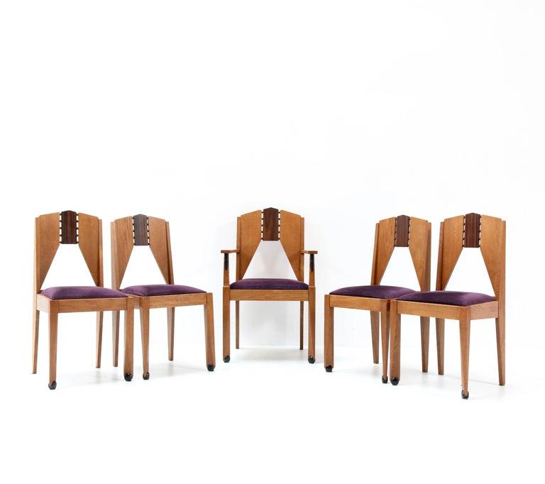 Four Oak Art Deco Amsterdam School Chairs by J.J. Zijfers Amsterdam, 1920s For Sale 1