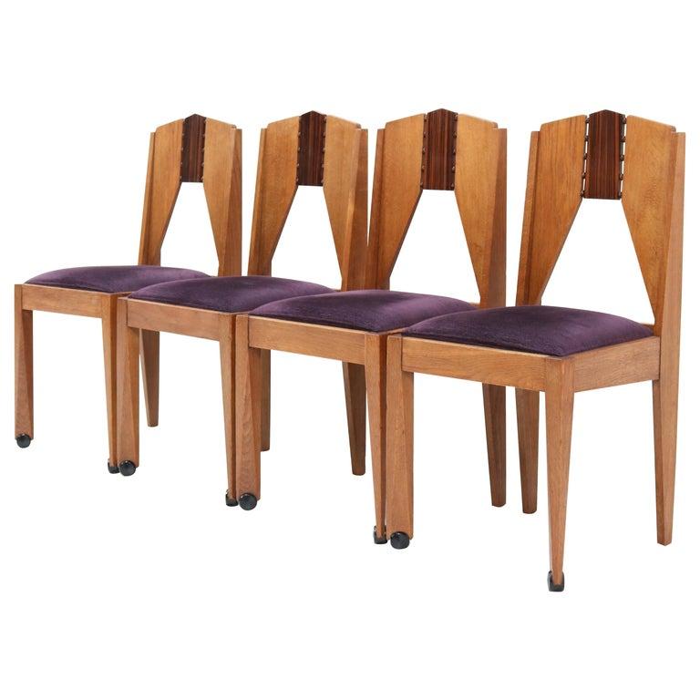 Four Oak Art Deco Amsterdam School Chairs by J.J. Zijfers Amsterdam, 1920s For Sale