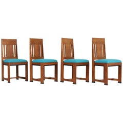 Four Oak Art Deco Haagse School Chairs by Jan Brunott, 1920s