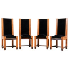 Four Oak Art Deco Haagse School High Back Chairs by Henk Wouda for Pander, 1920s
