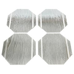 Four Octagonal Placemats Chipped Ice effect Lucite and Steel Willy Rizzo Style