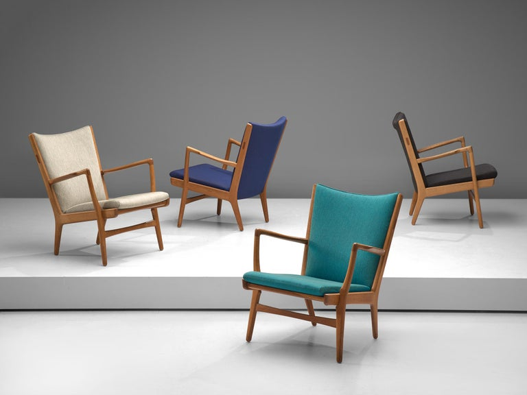 Hans J. Wegner for AP Stolen, 4 'AP-16' lounge chairs, fabric and oak, Denmark, 1951.  Set of four lounge chairs with oak frame designed by the Danish Hans J. Wegner. This model is produced by AP Stolen in small numbers and therefore not easy to