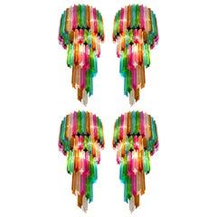 Four of Italian Sconces Venini Style 41 Multi-Color Quadriedri, Murano, 1980s