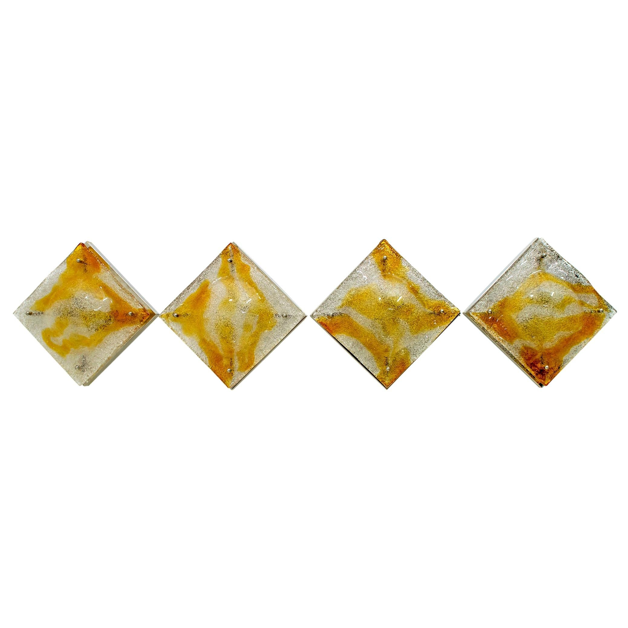 Four of Mazzega Mid-Century Modern Steel and Murano Glass Italian Sconces, 1960s