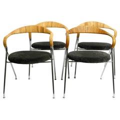 """Four Original 1950s Hans Eichenberger """"Saffa"""" HE103 Chairs for Dietiker & Co. AG"""