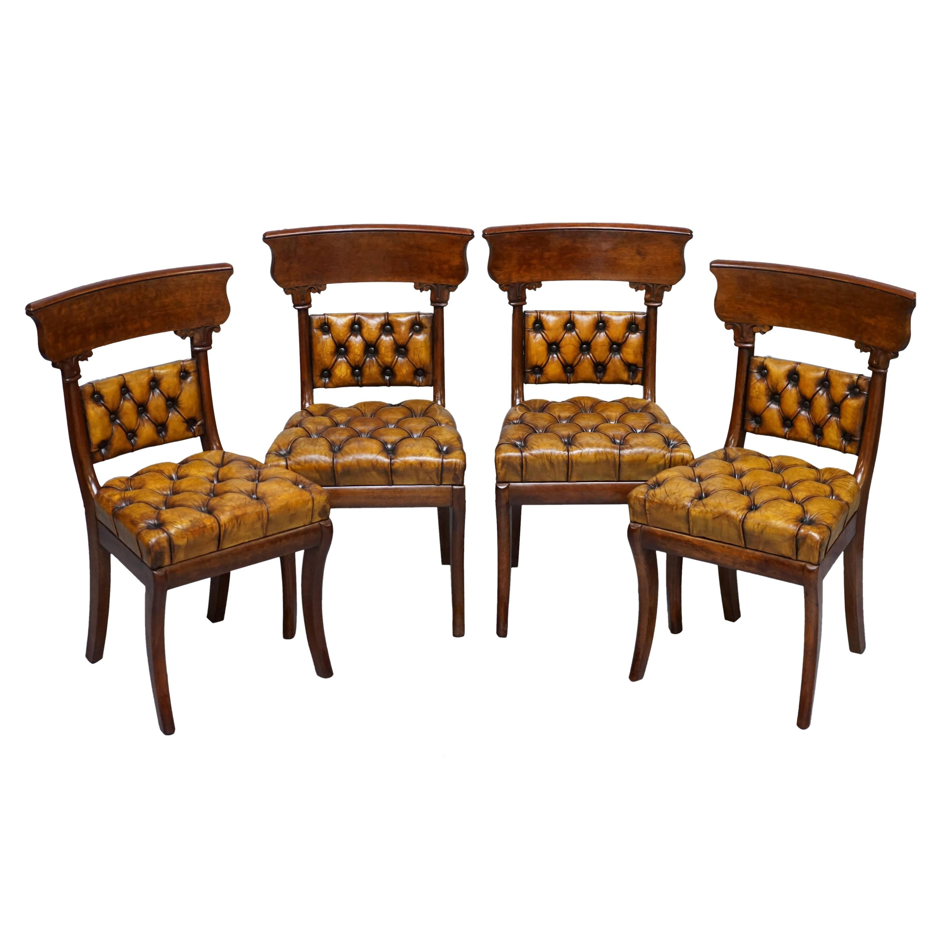 Four Original Regency Walnut Restored Chesterfield Brown Leather Dining Chairs