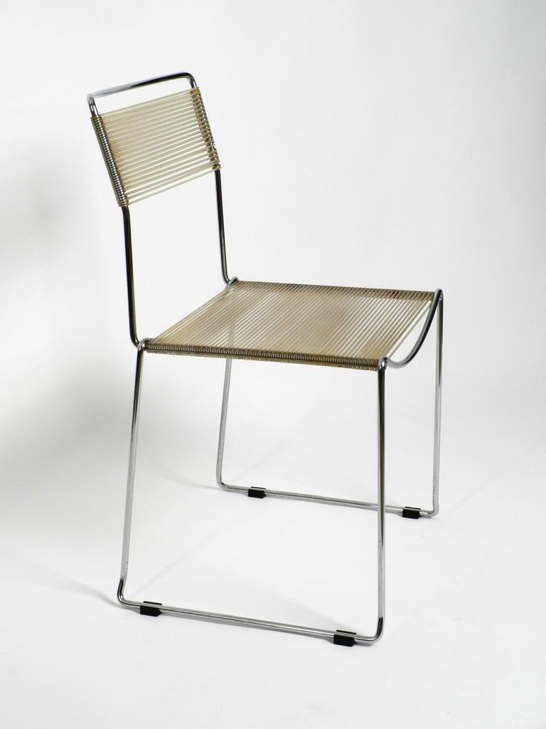 Four Original Very Well Preserved 1970s Spaghetti Chairs with Chromed Frames For Sale 5