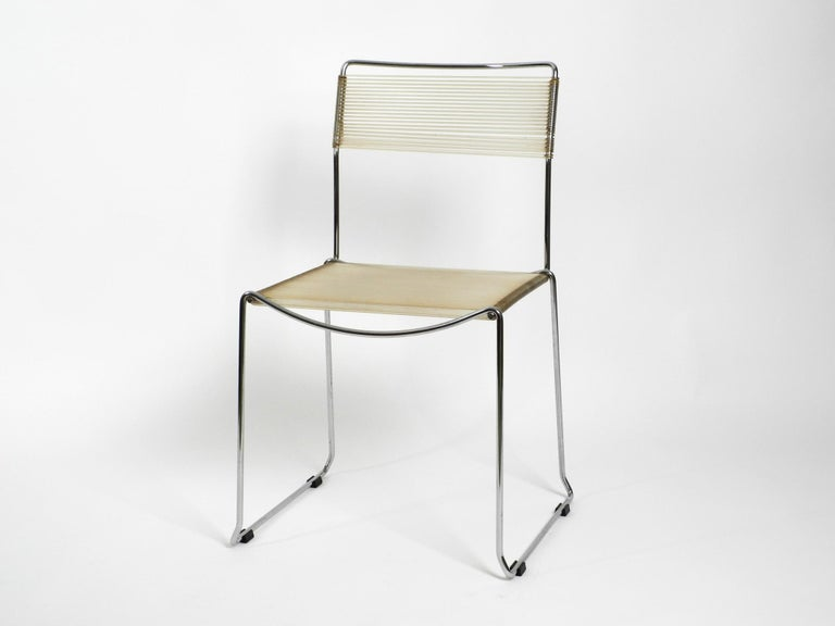 Four Original Very Well Preserved 1970s Spaghetti Chairs with Chromed Frames For Sale 6