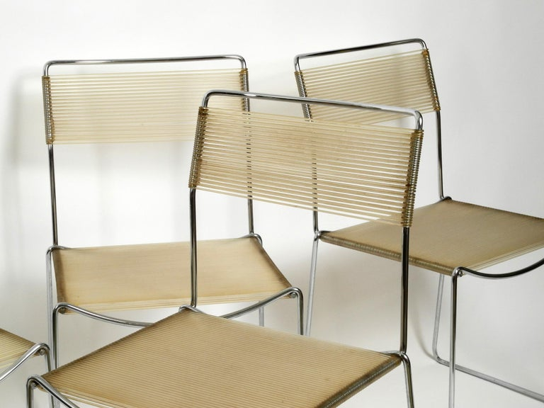 Four Original Very Well Preserved 1970s Spaghetti Chairs with Chromed Frames For Sale 8