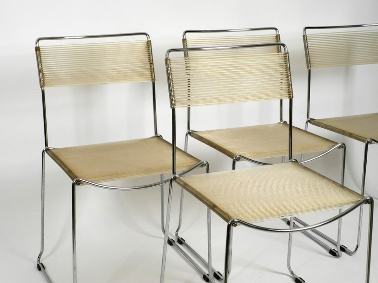Four Original Very Well Preserved 1970s Spaghetti Chairs with Chromed Frames For Sale 9