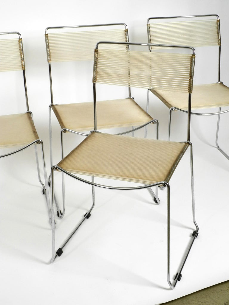 Four Original Very Well Preserved 1970s Spaghetti Chairs with Chromed Frames For Sale 11