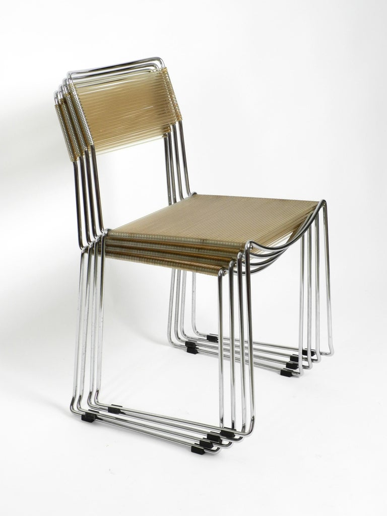 Four Original Very Well Preserved 1970s Spaghetti Chairs with Chromed Frames For Sale 12