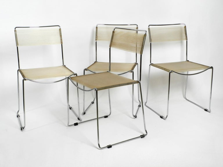 Space Age Four Original Very Well Preserved 1970s Spaghetti Chairs with Chromed Frames For Sale