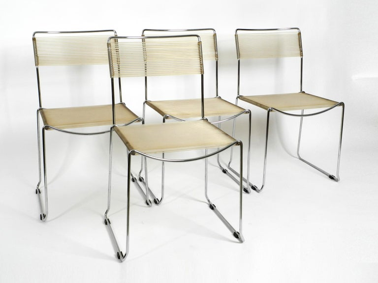 Italian Four Original Very Well Preserved 1970s Spaghetti Chairs with Chromed Frames For Sale