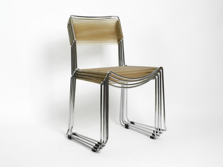 Late 20th Century Four Original Very Well Preserved 1970s Spaghetti Chairs with Chromed Frames For Sale