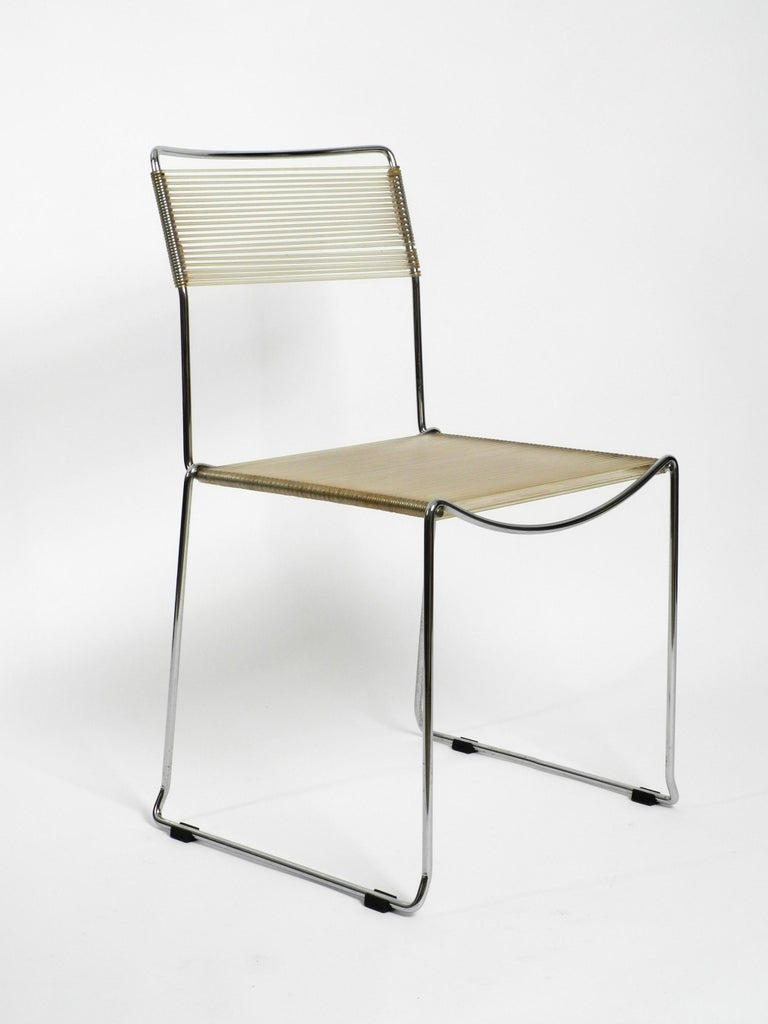 Metal Four Original Very Well Preserved 1970s Spaghetti Chairs with Chromed Frames For Sale