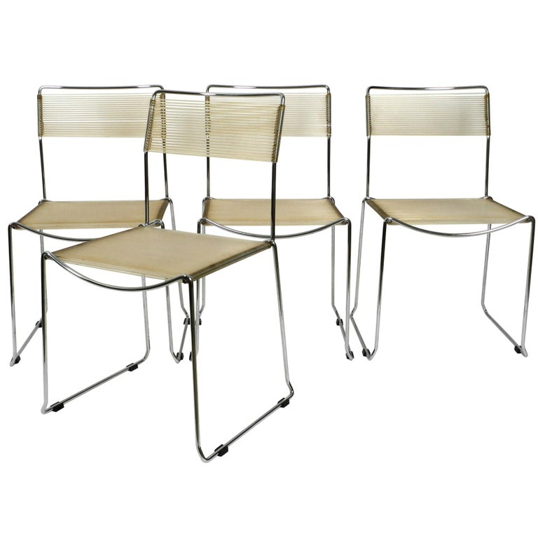 Four Original Very Well Preserved 1970s Spaghetti Chairs with Chromed Frames For Sale