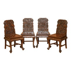 Four Ornately Carved Chinese Export circa 1900 Dragon Dining Occasional Chairs