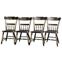 Four Paint and Gilt Decorated Hitchcock Style Side Chairs, 19th Century