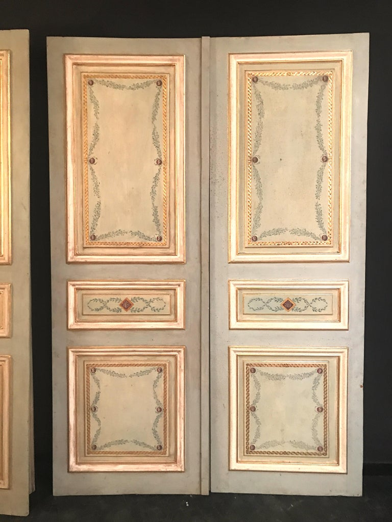 Four Pairs of 19th Century Italian Painted Doors or Panelling For Sale 7