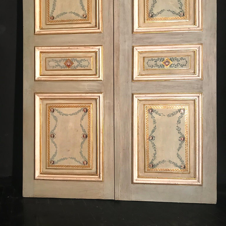 Four Pairs of 19th Century Italian Painted Doors or Panelling In Good Condition For Sale In Rome, IT