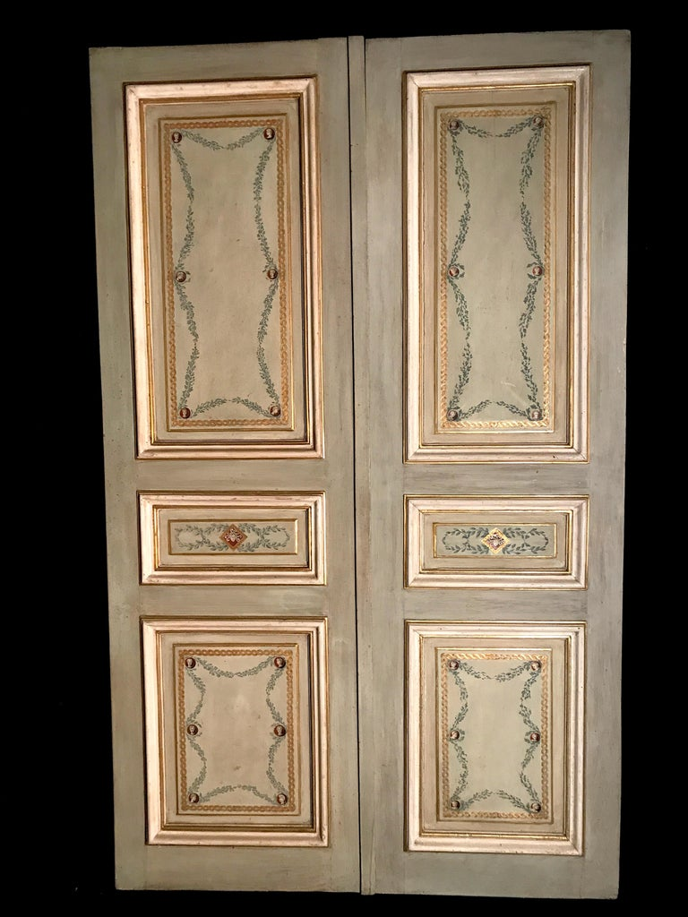 Four Pairs of 19th Century Italian Painted Doors or Panelling For Sale 1