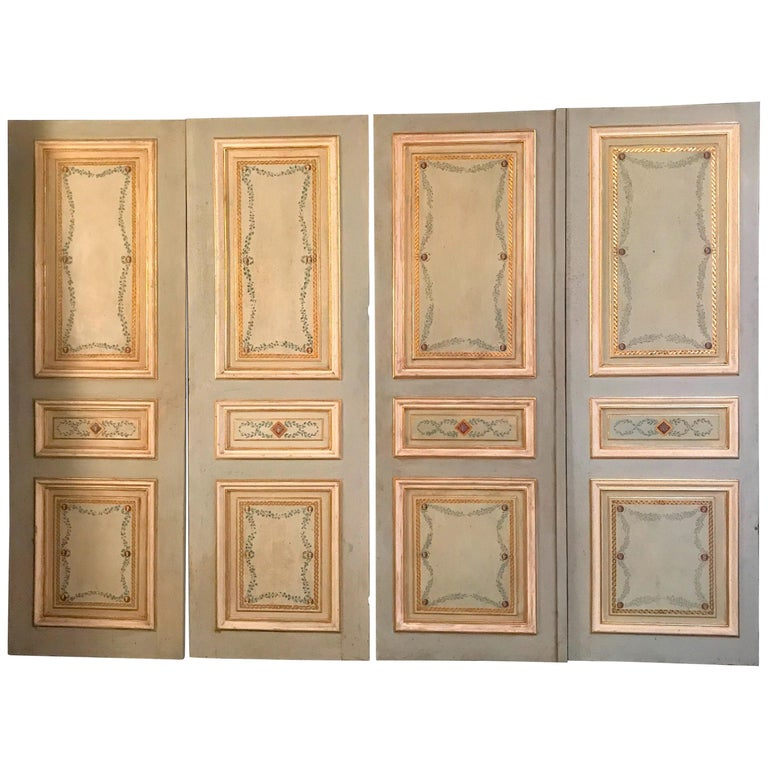 Four Pairs of 19th Century Italian Painted Doors or Panelling For Sale