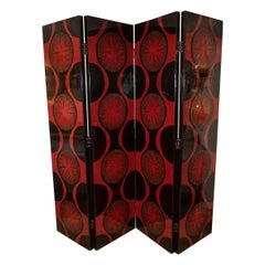 Four-Panel Black and Red Lacquered Wood Screen