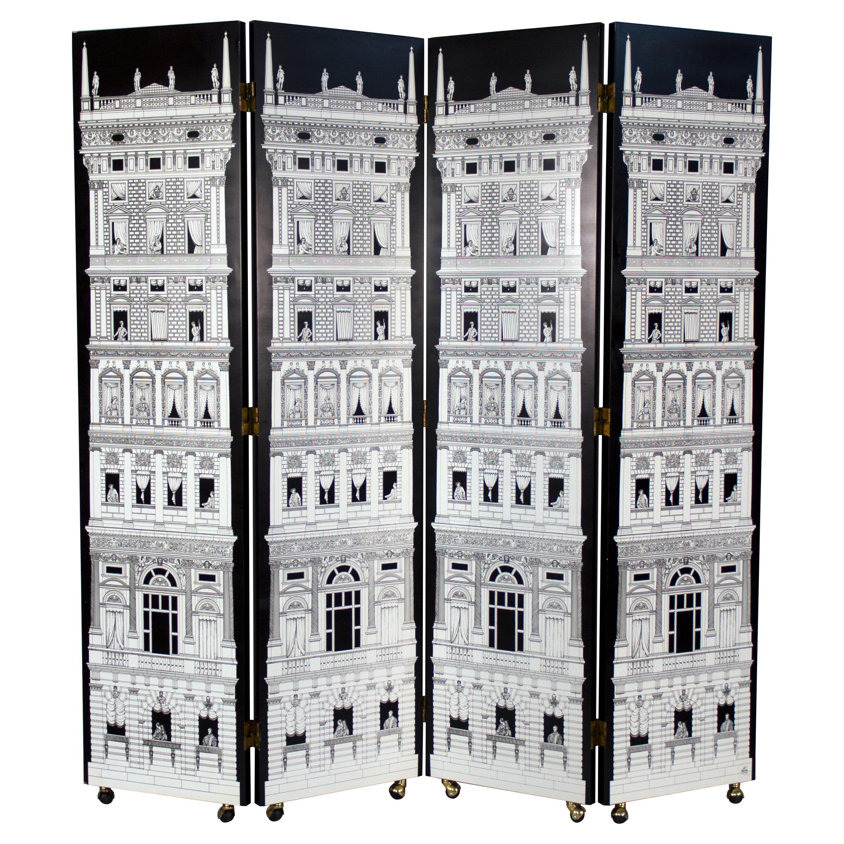 Four Panel Black and White Piero Fornasetti 'Architectura' Folding Screen