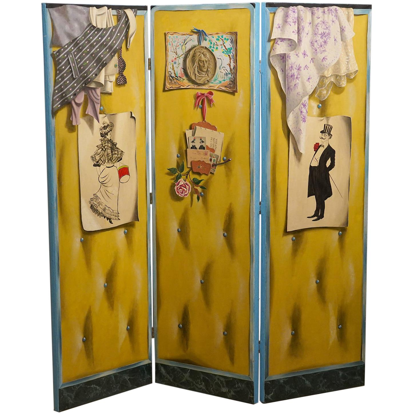 Four Panel Canvas Screen by Lucien Mathelin 'Belle Epoque Themes'