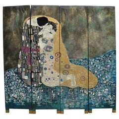 Four Panel Carved Lacquer Screen after 'The Kiss' by Gustav Klimt