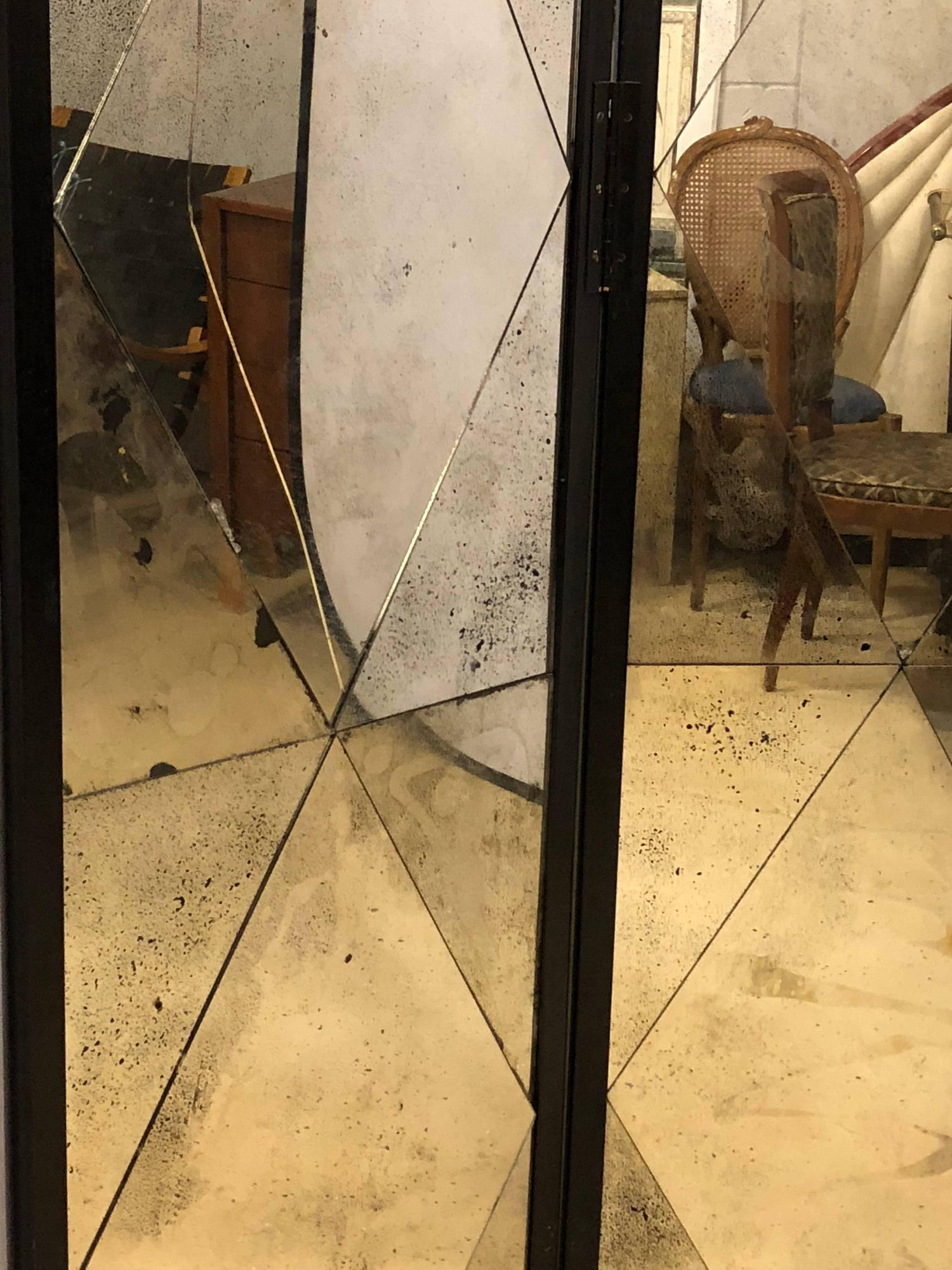 Four Panel Double Sided Floor Screen or Room Divider Distressed ...