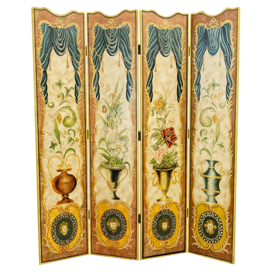 Four Panel Folding Painted Screen