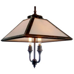 Four-Panel Gas Lamp, Copper and Milk Glass