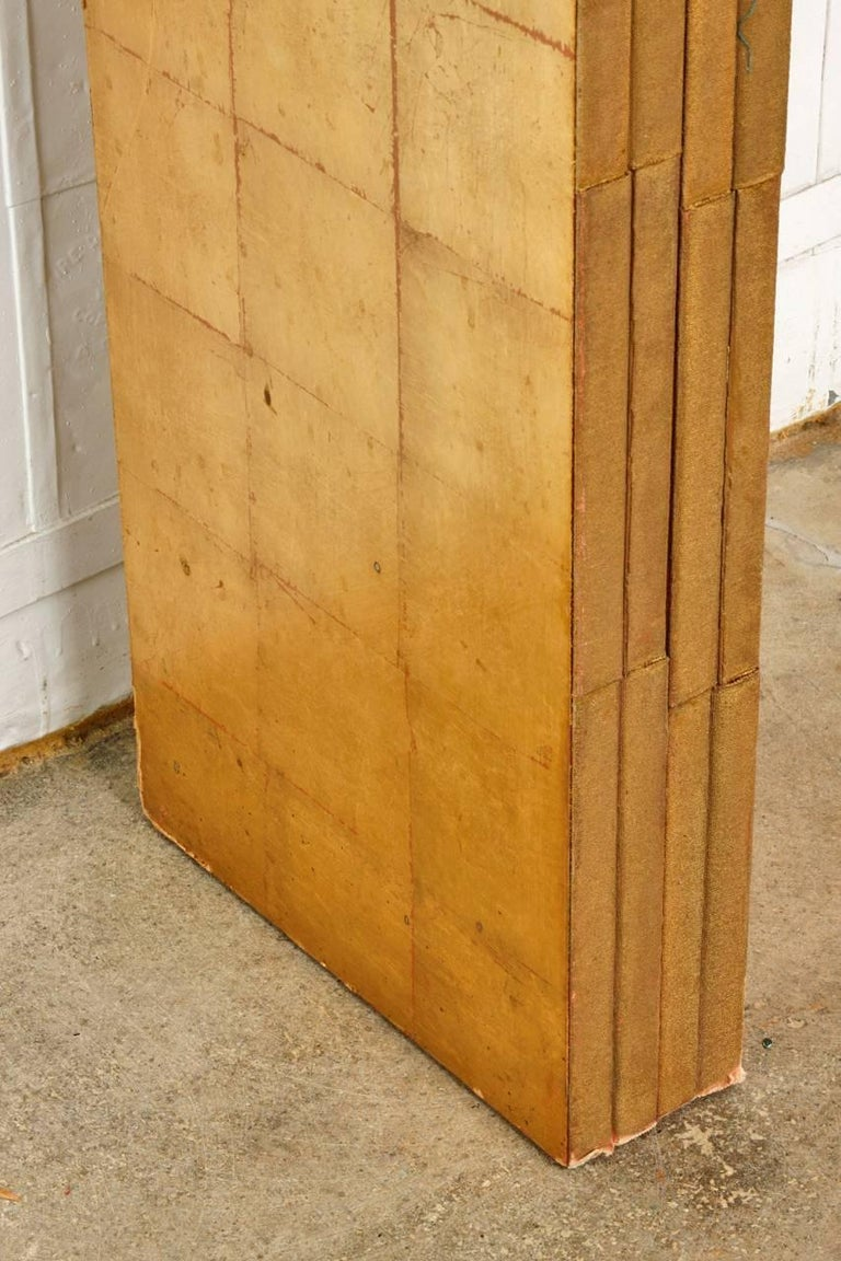 Four-Panel Gold Leaf Room Divider Two Sided Screen For Sale 3