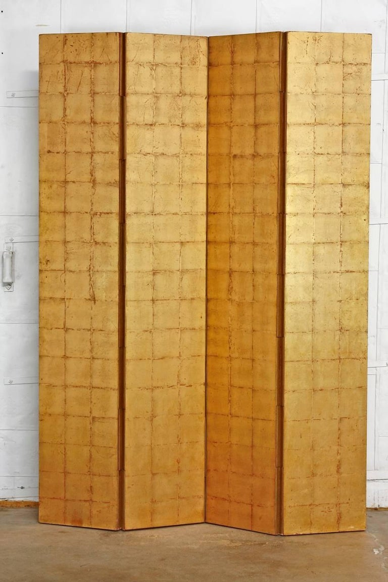 Awe Inspiring Four Panel Gold Leaf Room Divider Two Sided Screen Download Free Architecture Designs Scobabritishbridgeorg