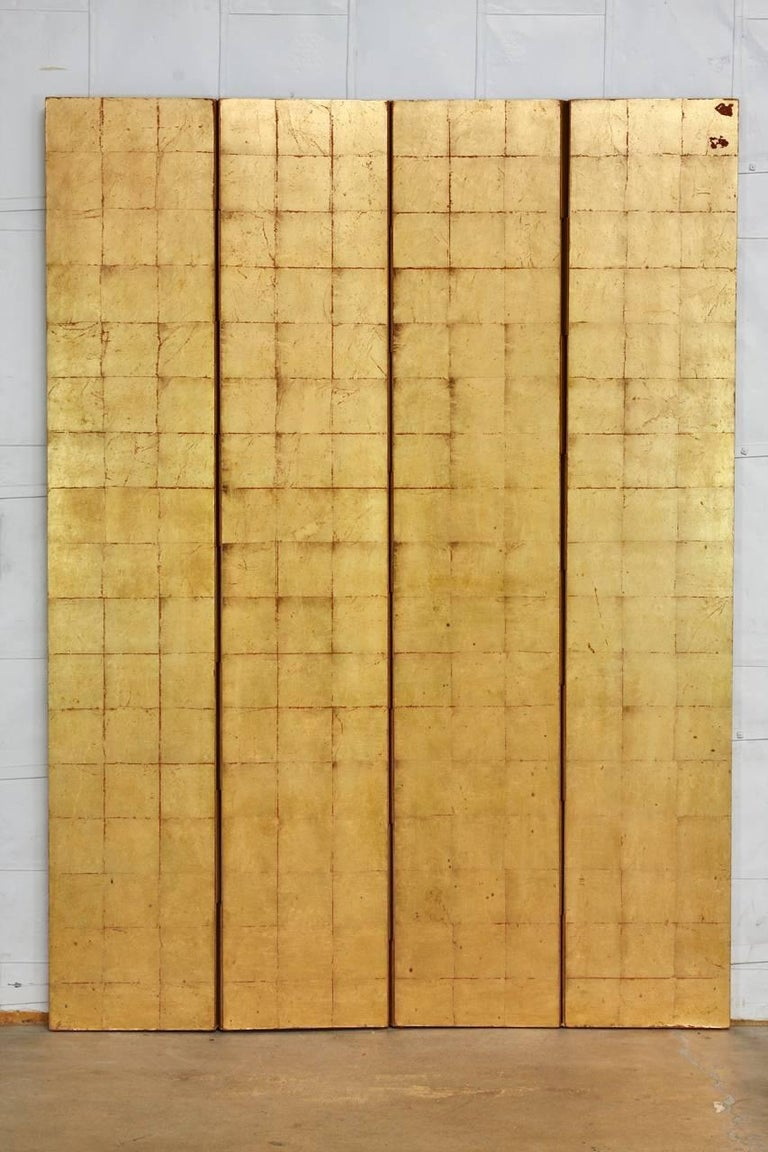 Hollywood Regency Four-Panel Gold Leaf Room Divider Two Sided Screen For Sale