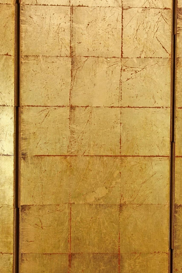 Chinese Four-Panel Gold Leaf Room Divider Two Sided Screen For Sale