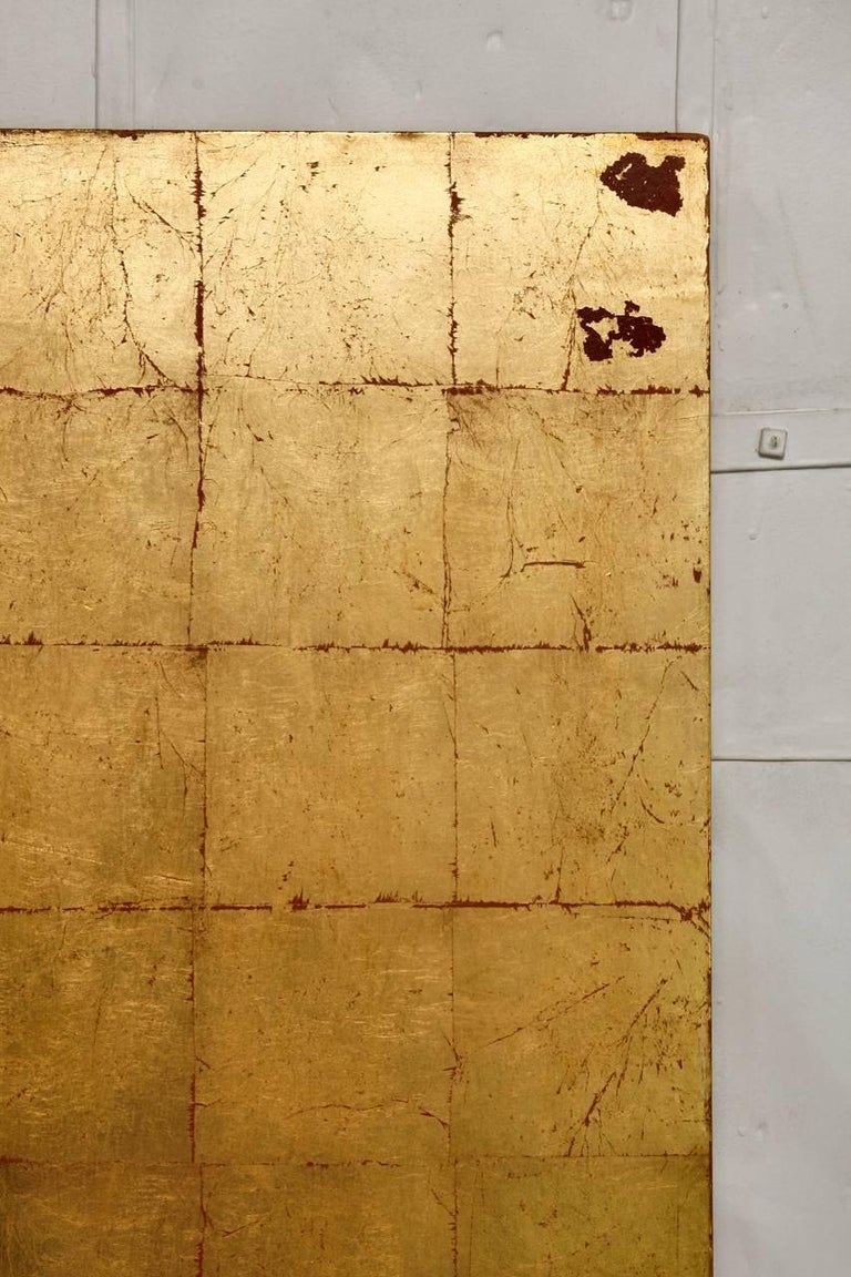 Lacquered Four-Panel Gold Leaf Room Divider Two Sided Screen For Sale